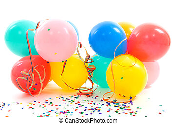 colorful balloons, party streamers and confetti over white...