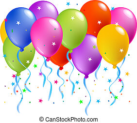 Colorful Balloons - Realistic vector illustration of a shiny...