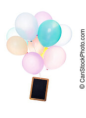 Colorful Balloons, slate with copyspace, isolated on white