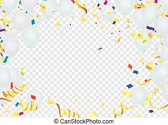 Colorful balloons Vector illustration of party background with confetti and space for your text