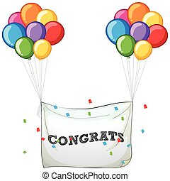 Colorful balloons with banner for word congrats illustration