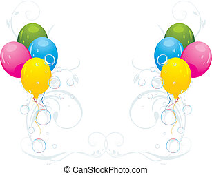 Colorful balloons with bubbles