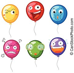 Colorful balloons with different facial expressions