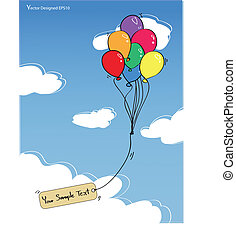 Colorful balloons with empty tag on the blue sky