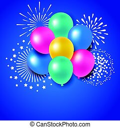Colorful balloons with fireworks for celebration