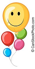 Colorful balloons with happy face