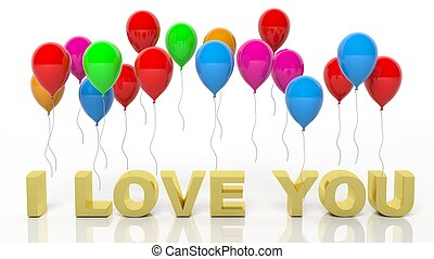 Colorful balloons with I Love You text isolated on white background