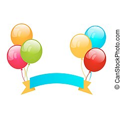 Colorful balloons with ribbon for place your text