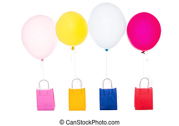 colorful balloons with shopping bags, isolated on white