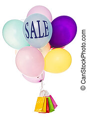 Colorful balloons with shopping bags, word Sale