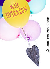 colorful balloons with wooden heart, concept wedding -...