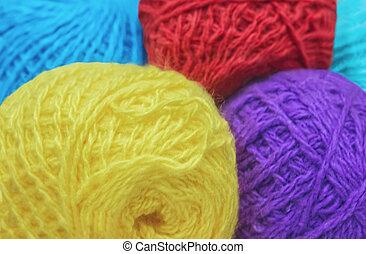 Colorful Balls Of Wool Yarn Closeup