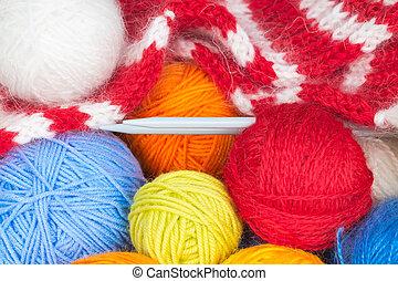 Colorful balls of wool yarn