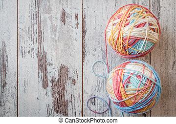 Colorful Balls of Yarn - Colorful balls of yarn for knitting...