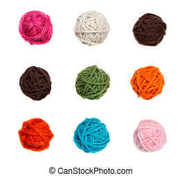 colorful balls of yarn isolated on a white background -...