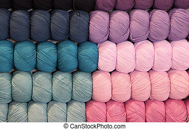 colorful balls of yarn or sale in the haberdashery shop