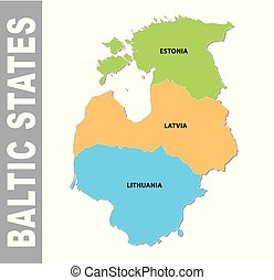 Colorful baltic states administrative and political map