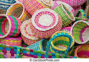 Colorful bamboo baskets