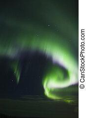 Colorful band of aurora borealis