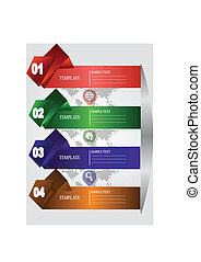 Colorful banner number step ribbon. Elements for infographics, graphic design or web banners