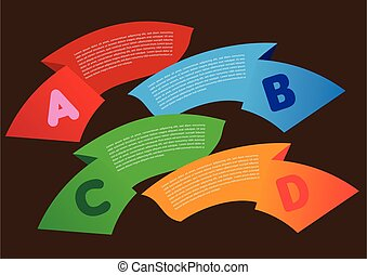 Colorful Banner with Alphabet Bullet Points Layout Design Vector Background for List