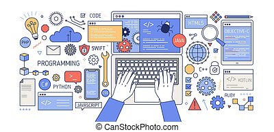 Colorful banner with hands working on computer, different electronic gadgets, devices and symbols. Programming, software development, program coding. Creative vector illustration in linear style.