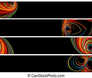 Banners and backgr%u0131ound with colorful retro circles isolated on black