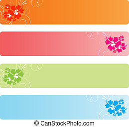 Colorful banners with florals - Four colorful banners with...