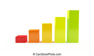 Colorful bar chart - 3D rendering of a colorful bar chart