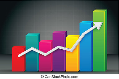 Colorful Bar Graph - illustration of colorful bar graph with...