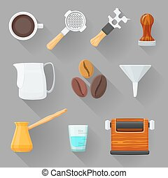 vector colorful flat design various barista equipment coffee cup, tamper, wrench, measuring glass, pitcher, beans, portafilter, funnel, knock box, turk pot isolated illustration collection shaded isolated gray background