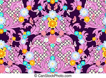 colorful baroque floral pattern with butterflies. seamless backg