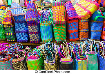 Colorful Baskets for Sale in Market in Oaxaca