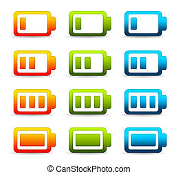 Colorful Batteries - High resolution graphic of colorful...