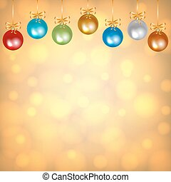 colorful baubles on golden background