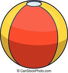 Colorful beach ball icon, cartoon style
