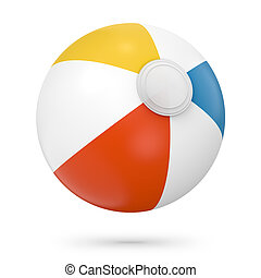 Colorful beach ball studio shot 3D Illustration. White, red,...