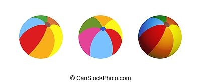 Colorful beach ball, vector illustration. Flat and realistic style.
