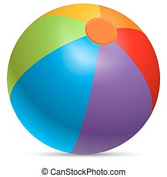 Colorful beach ball vector illustration.