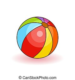 Colorful beach ball vector illustration. White, red, yellow and blue beach ball isolated on white background.