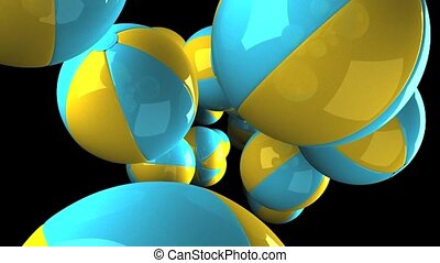 Colorful beach balls on black background