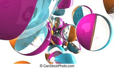 Colorful beach balls on white background
