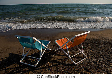 colorful beach chairs
