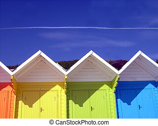 Colorful beach chalets - Low angle view of colorful wooden...