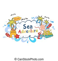 Colorful beach print with cartoon elements