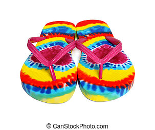 Colorful Beach Thongs - Colorful beach thongs (sandals) over...