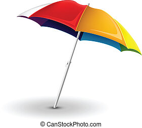 Colorful Beach umbrella isolated on white