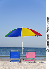 Colorful Beach Umbrella with Pink and Blue Deckchairs - Pink...