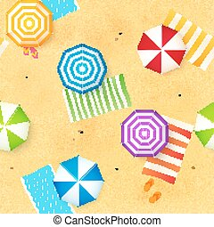 Colorful beach umbrellas and towels at the sand, seamless...
