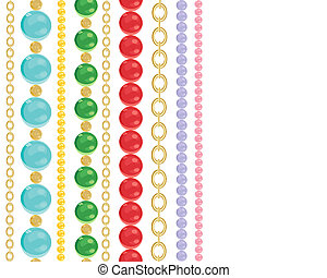 an illustration of colorful bead necklaces and gold chains on a white background